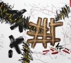 Sans titre - Encre, brou de noix, huile, pigment, collage et crayon sur papier 125 - 105x74,5 - 2014.JPG