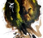 Sans titre - Encre, brou de noix, pigment, huile et crayon sur papier 122 - 105x74,5 - 2014.JPG