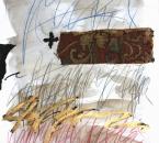 Sans titre - Encre, collage, tissus, huile et crayon sur papier 129 - 50x70 - 2014.JPG