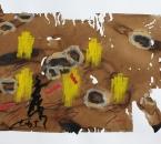 Sans titre - Pigment, brou de noix, huile et crayon sur papier 145 - 50x70 - 2014.JPG