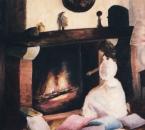 Patricia à la cheminée - Huile sur toile - 1984.jpg