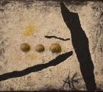 Trois escargots - Technique mixte sur toile - 35x27 - 1997.jpg