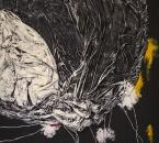 Peinture No 214 - Acrylique, pigments, tissus et cordes sur toile - 150x150 - 04-2021 - Librement inspiré du monotype Dans de beaux draps de Edith Dufaux.jpg