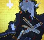 Peinture No 215 - Requiem pro perditis animis-Requiem pour les âmes perdues - Acrylique, pigments, terre, métal, tissus, feuilles d'or jaune et blanc sur toile - 150x150 - 2021.jpg