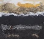 Peinture No 218 - Eaux profondes - Acrylique, terre, sable, poudre et limailles de métal, plomb, robinet et filet sur toile - 90x90 - 2021.jpg