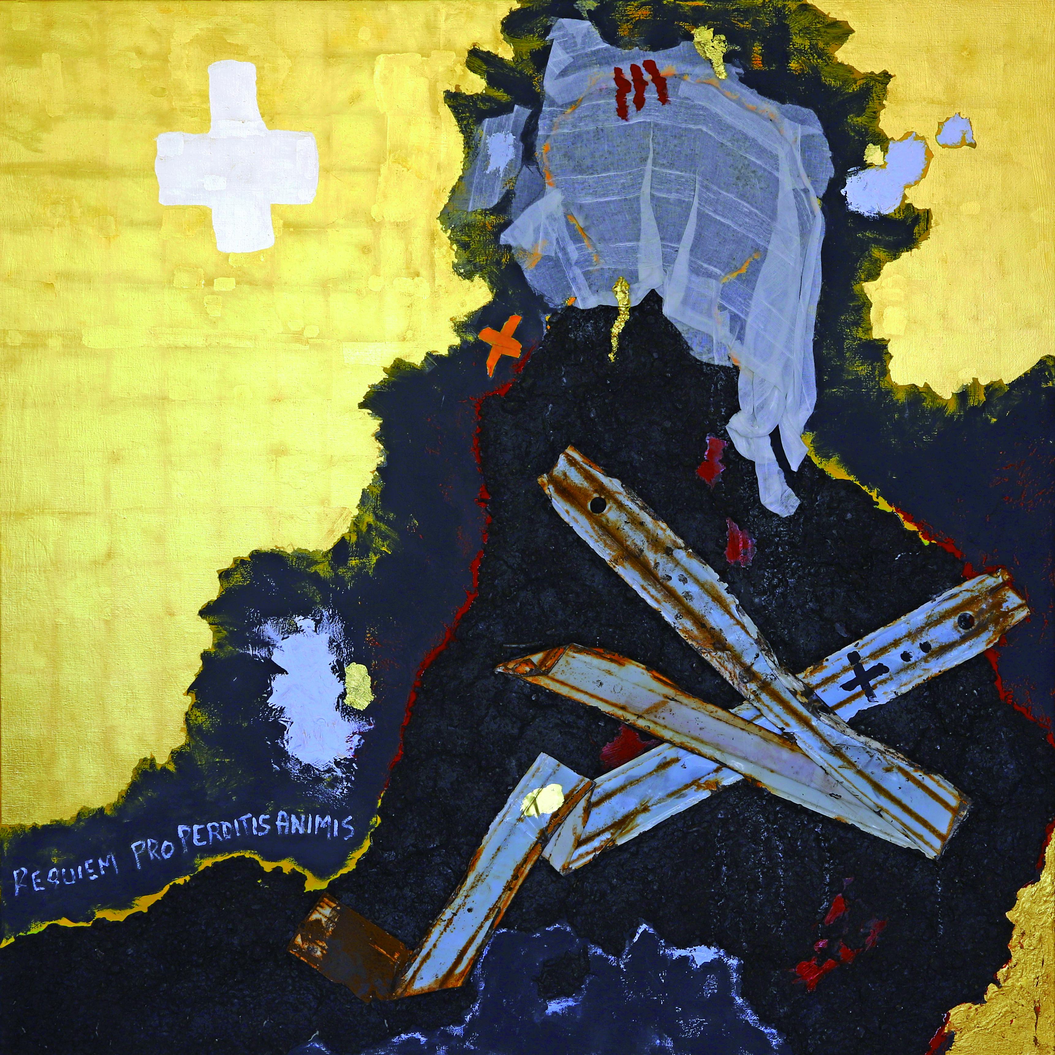 Peinture No 215 - Requiem pro perditis animis-Requiem pour les âmes perdues - Acrylique, pigments, terre, métal, tissus, feuilles d'or jaune et blanc sur toile - 150x150 - 2021